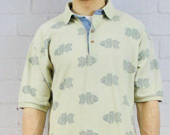 24bc92869 Mens Vintage Bugle Boy Fish Polo   90's Green Beige Cotton Shirt with  Collar   Golf Shirt