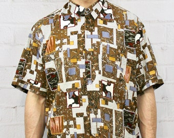 41c6da491a0 90s Geometric Silk Shirt   Mens Vintage Hipster 80s Brown Blue Abstract  Style Short Sleeve Button Down   Fresh Prince Zack Morris   Medium