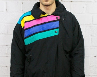 90s Rainbow Stripe Ski Jacket   Mens Womens 80s Vintage Black Puffer Winter  Coat Retro Hipster   Fresh Prince Saved By the Bell Style 1dfb32961