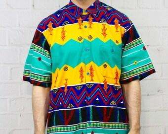 36157eef 80's Loud Tribal Hawaiian XL Shirt | Mens Vintage Newport Blue Short Sleeve  Button Down | Retro Hipster Fresh Prince of Bel Air Style