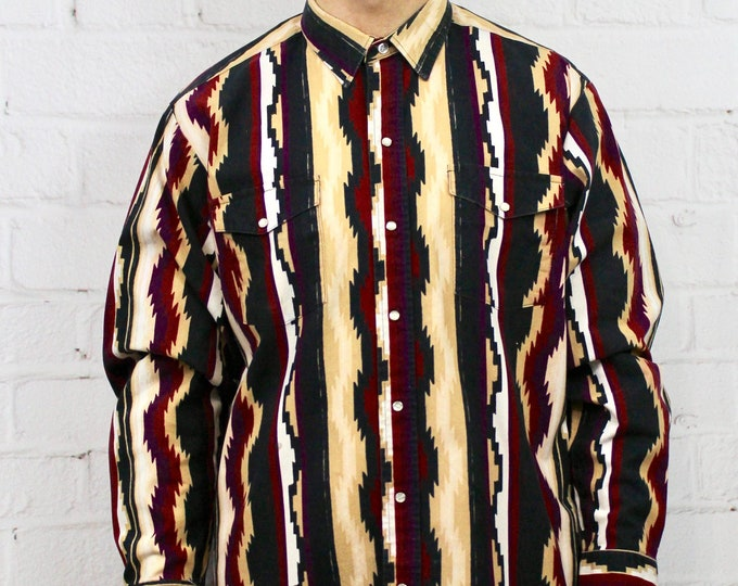 e9eda85dee9 90s Aztec Panhandle Slim Shirt   Mens Vintage 80s Maroon Beige Geometric  Pattern Fresh Prince Cowboy