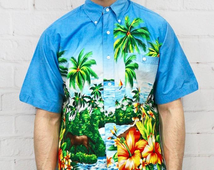 429fe3ffd Vintage Wrangler Hawaiian Shirt | Mens 90s Blue Island Palm Tree Pattern  Short Sleeve Button Down