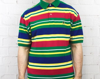 47f43c4a8 90's Vintage Tommy Hilfiger Rainbow Polo Shirt | Pink Blue Green Yellow  Horizontal Stripe Color Block | Fresh Prince Style Shirt | Large
