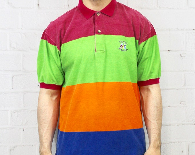 2f720927d 90s Nautica Horizontal Striped Rainbow Polo | Mens Vintage Pink Green  Orange Blue Stripe Color Block