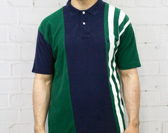 b063e3ca3f0 Mens Vintage 90s Nautica Polo Shirt | Navy Blue Green White Vertical Stripe  Color Block