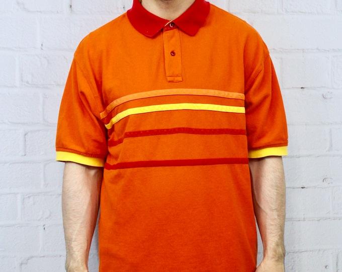 01d65b34 Mens Vintage XL 90s Tommy Hilfiger Orange Polo Shirt | Horizontal Stripe  Color Block | Fresh