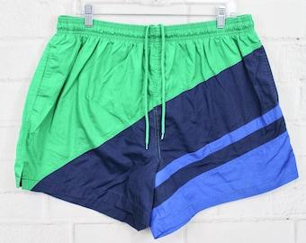 dc3c9b7c20 Men's XL Laguna Swim Trunks | Vintage Color Block Green & Blue Striped  Swimsuit | X-Large
