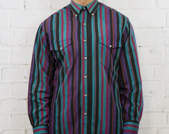 8d8a9088764 Vintage 90s Wrangler Vertical Stripe Shirt Small   Mens 80s Rodeo Western  Purple Pink Teal Long