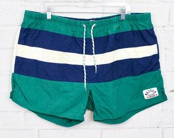 7fc0db4f2d231 Nautica XL Vintage Mens Swim Trunks | 90s Striped Nautical Green White &  Blue Swimsuit | X-Large XXL
