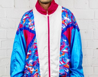 ff40612b2a960 2XL Vintage Colorful Pastel Windbreaker | 1990's Casual Isle Color Block  Geometric Track Jacket | Mens Womens 90's Tracksuit Top Retro