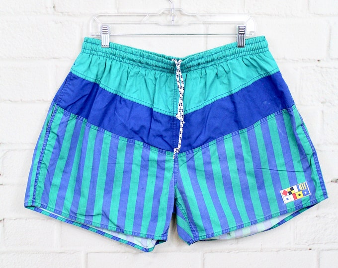 277fd7a357 Men's XL Flag Ship Swim Trunks | Vintage 90s Color Block Green & Blue  Striped Swimsuit