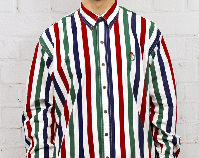 23b85bd8c4 90s Chaps Vertical Stripe Shirt / Mens Vintage 80s Polo Ralph Lauren Style  Red Blue Green