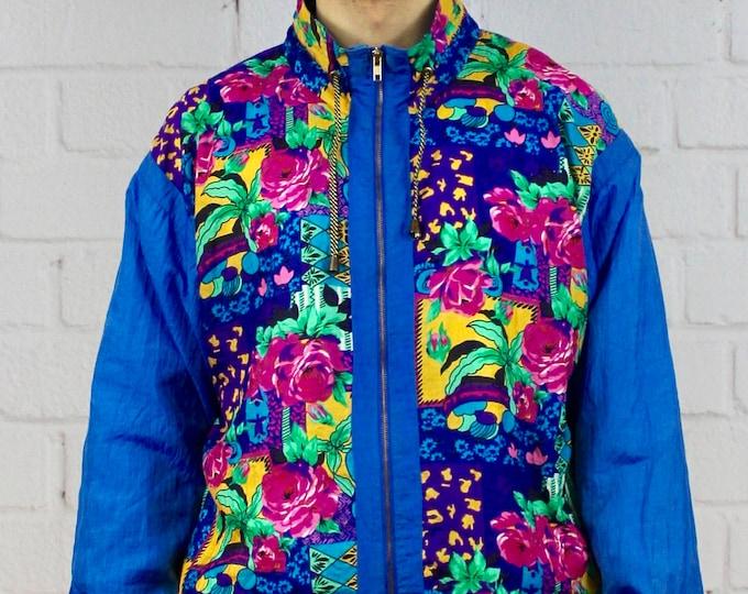 6e4a2610 Vintage Floral Windbreaker / Mens Womens 80s 90s Track Jacket / Blue Pink Color  Block Striped