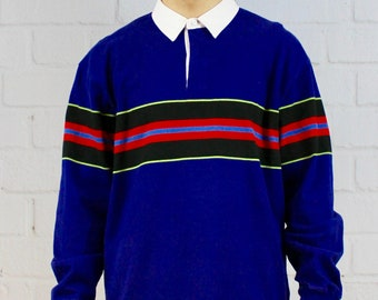 beac5ac6f8b Mens Vintage 80s 90s J Crew Color Block Neon Blue Red Striped Fresh Prince  Saved By The Bell Rugby Polo Shirt
