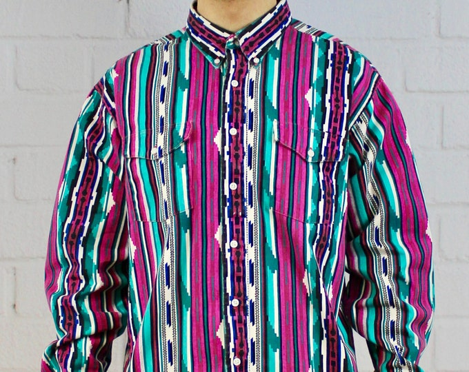 bfef0865 Mens Vintage 80s 90s Wrangler Geometric Aztec Crazy Pattern Pink Teal White Fresh  Prince Long Sleeve