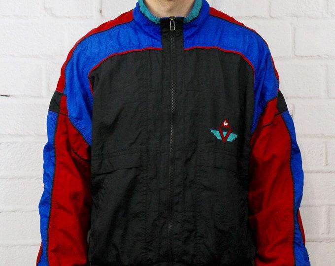 d20874f3e5d Vintage Le Coq Sportif Track Jacket   Mens 90s Red Blue & Black Color Block  Striped