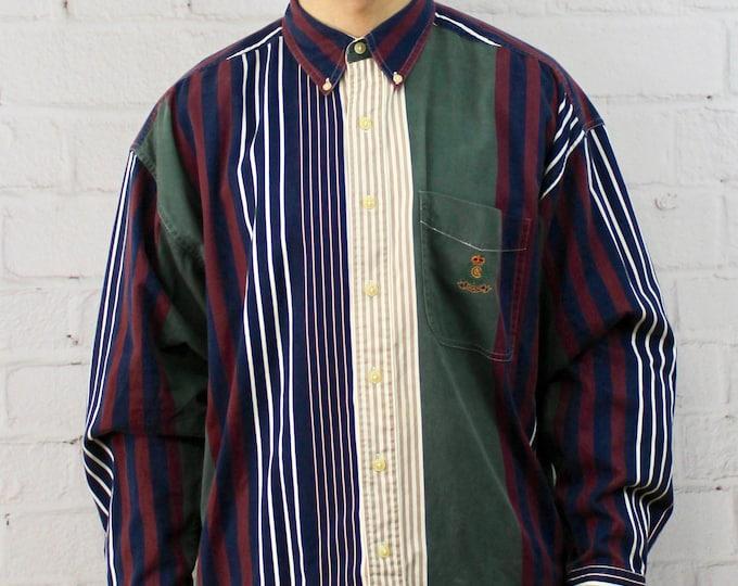 e8ddfd46 90's Chaps Vertical Stripe Shirt   Mens Vintage Maroon, Green, Blue, White,