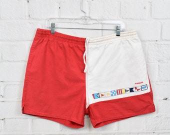 b6a2ce85a2 Vintage XL McGregor Swim Trunks | Mens 90s Color Block Red & White Bathing  Suit Nautical Flags | X-Large