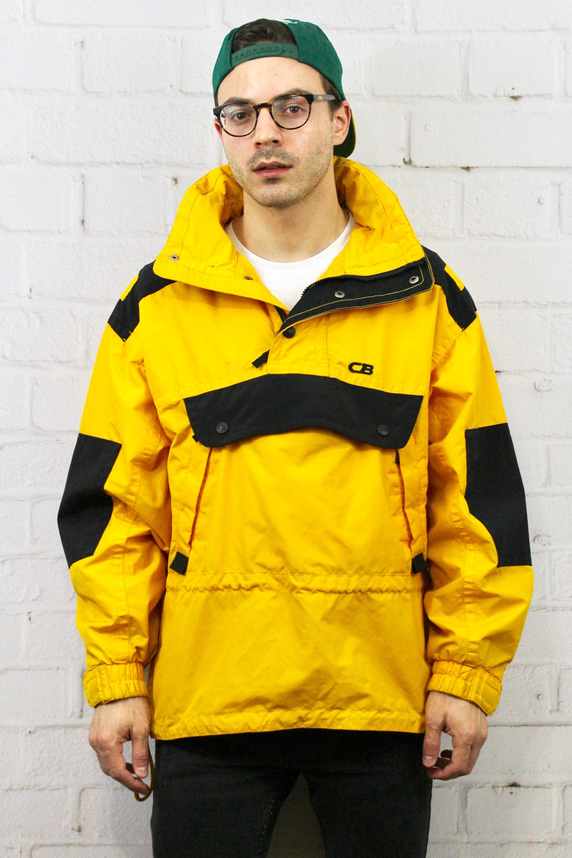 530b7c364 Vintage CB SPORTS Pullover Ski Jacket / Mens Womens 80s 90s Black Yellow  Winter Coat / Snowboarding Retro Hipster