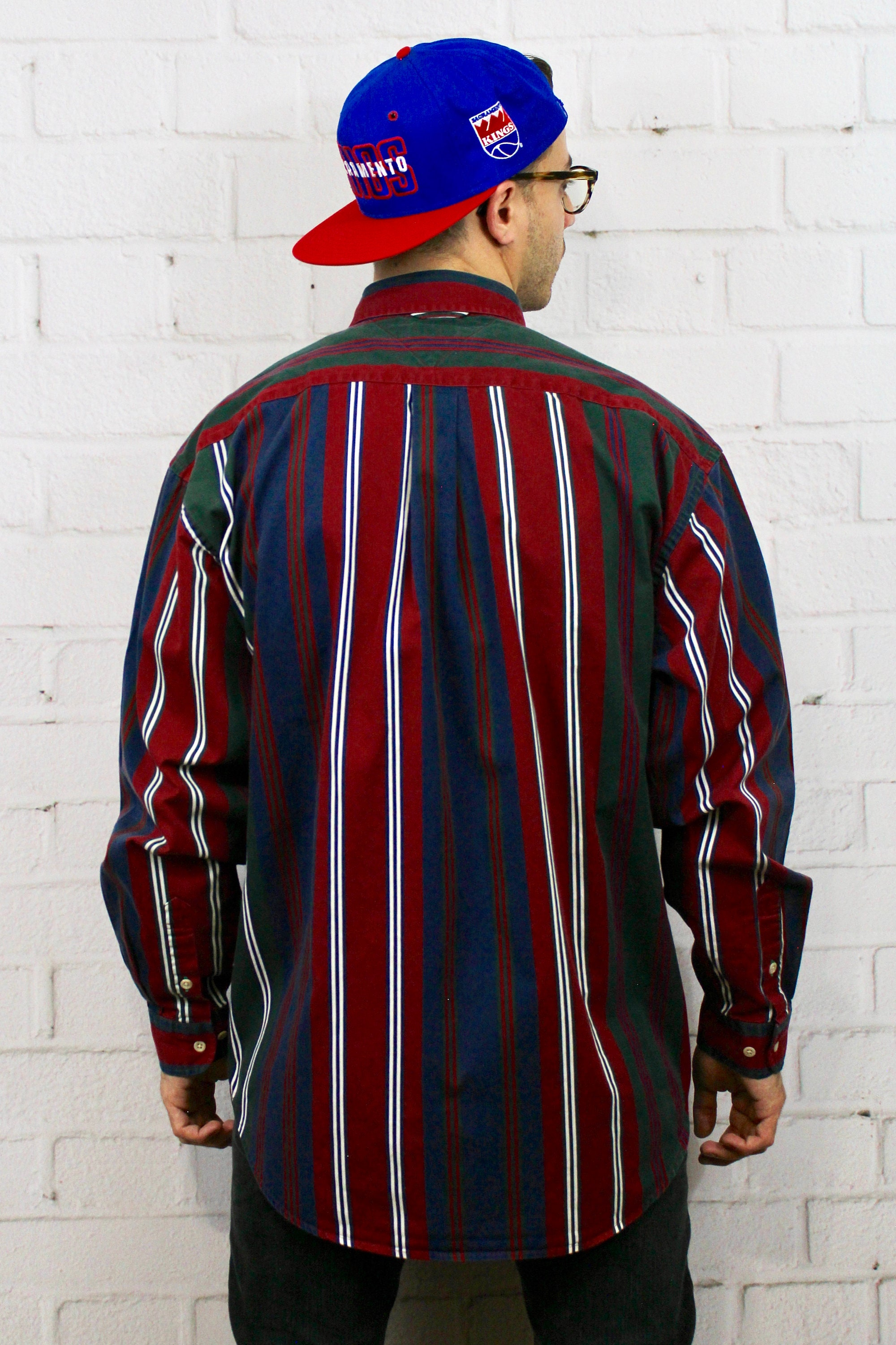947016ab9 ... Vertical Stripe Shirt / Mens Vintage 80s Dad Polo Style Red Blue Green  Striped Long Sleeve Button Down / Fresh Prince. gallery photo gallery photo