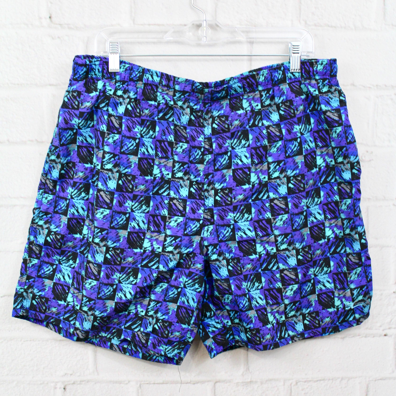 b3ae262c8b787 Vintage Hobie Swim Trunks Mens 90's Geometric Pattern | Etsy
