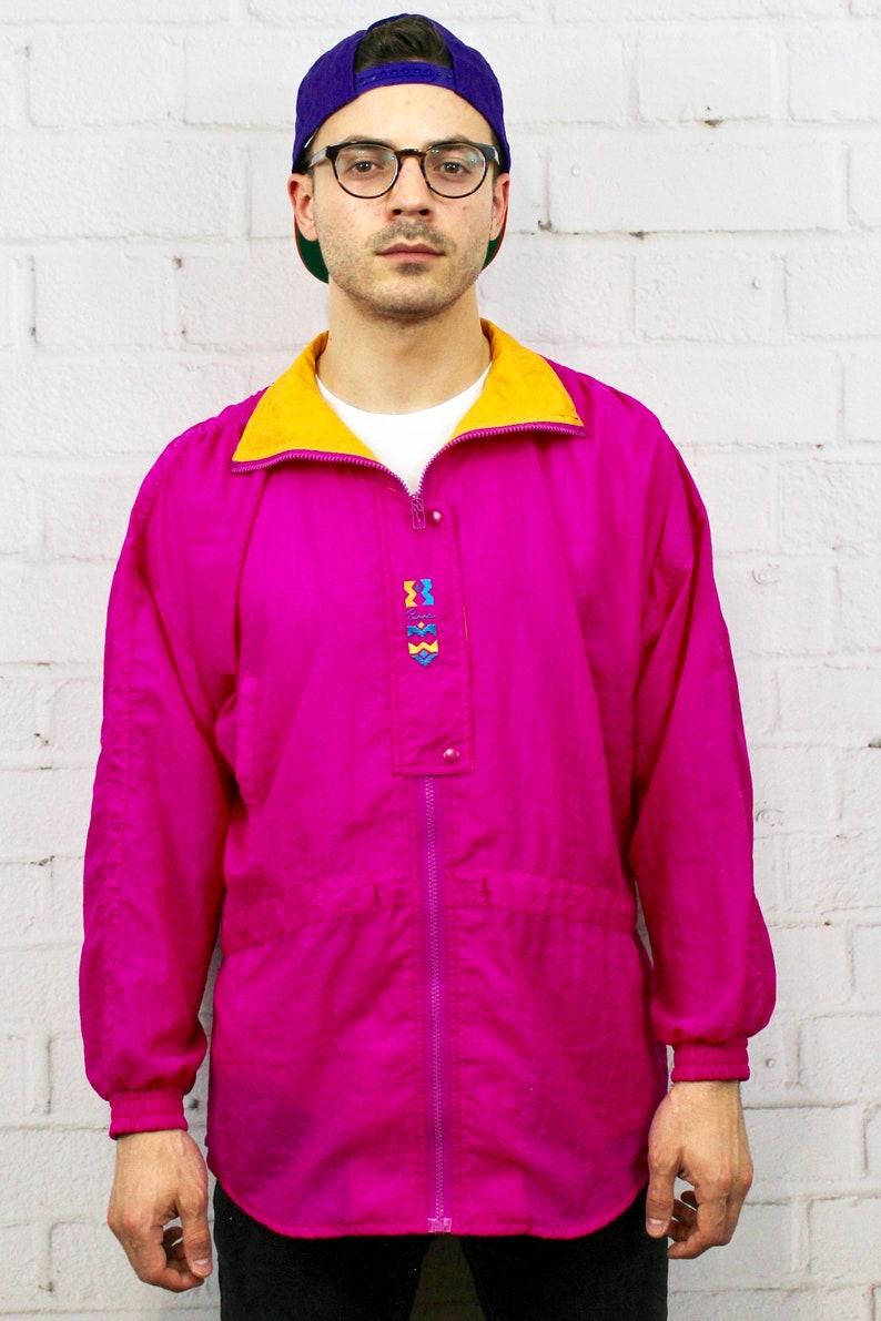 1f61fd17d 90s Neon Puma Windbreaker / Mens Womens Vintage 80s Day Glow Pink Orange  Track Jacket / Fresh Prince Saved By the Bell Zack Morris