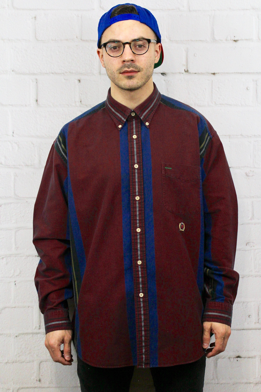 f0c95022 Vintage Tommy Hilfiger Striped Shirt | Mens 90's Maroon Blue Green Vertical Stripe  Button Down Oxford Shirt | Retro Carlton Banks Style