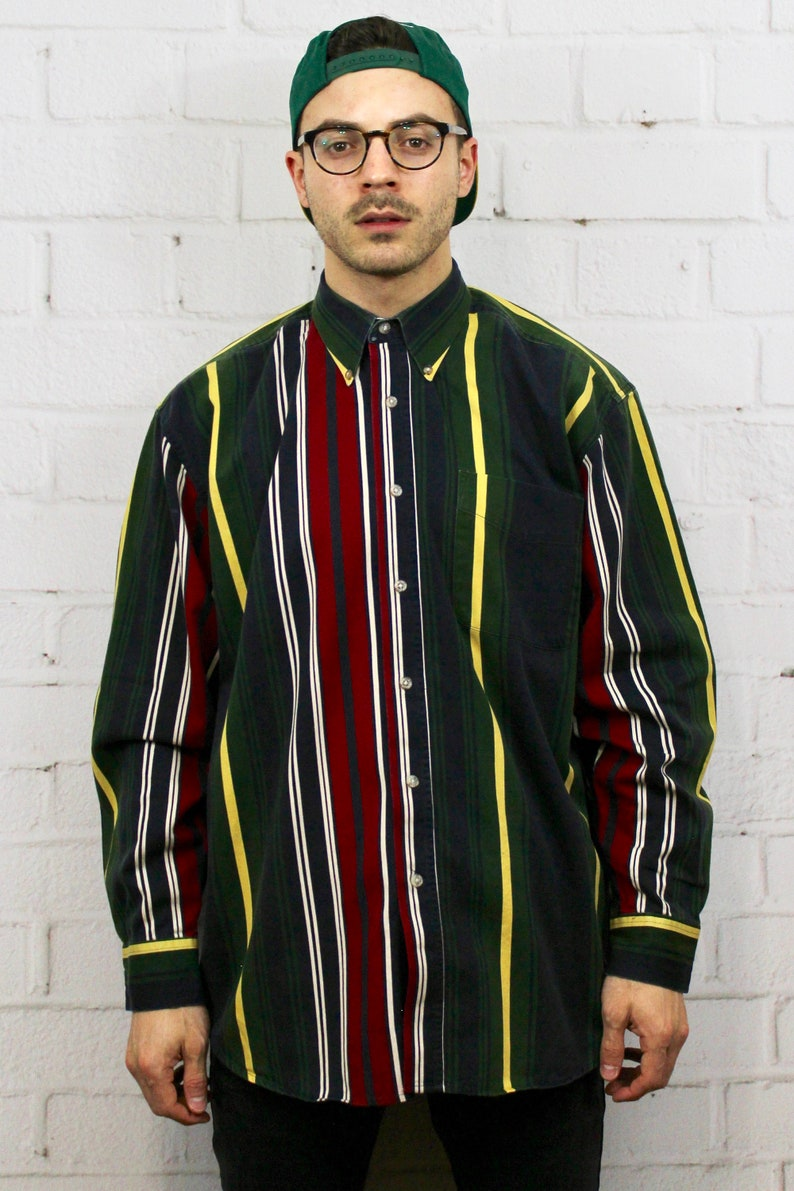 e7a3eac4e 90s Ivy Crew Vertical Stripe Shirt / Mens Vintage 80s Ralph   Etsy