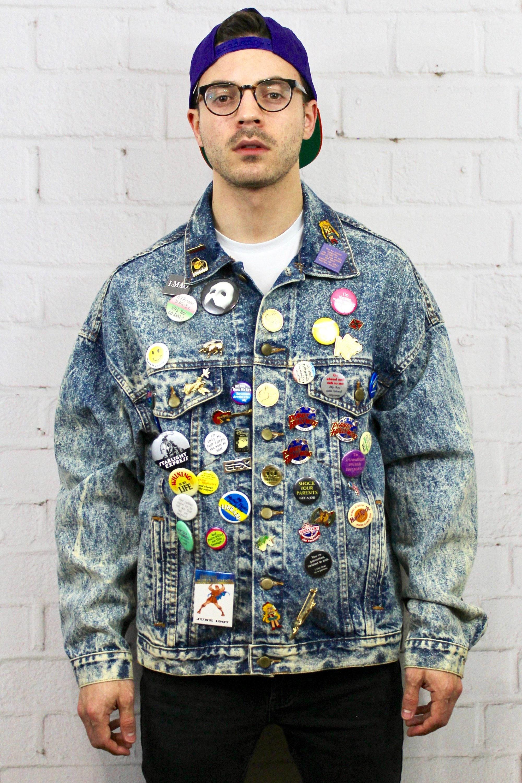 Vintage 90 S Acid Wash Denim Jacket Mens Womens 80s Grunge