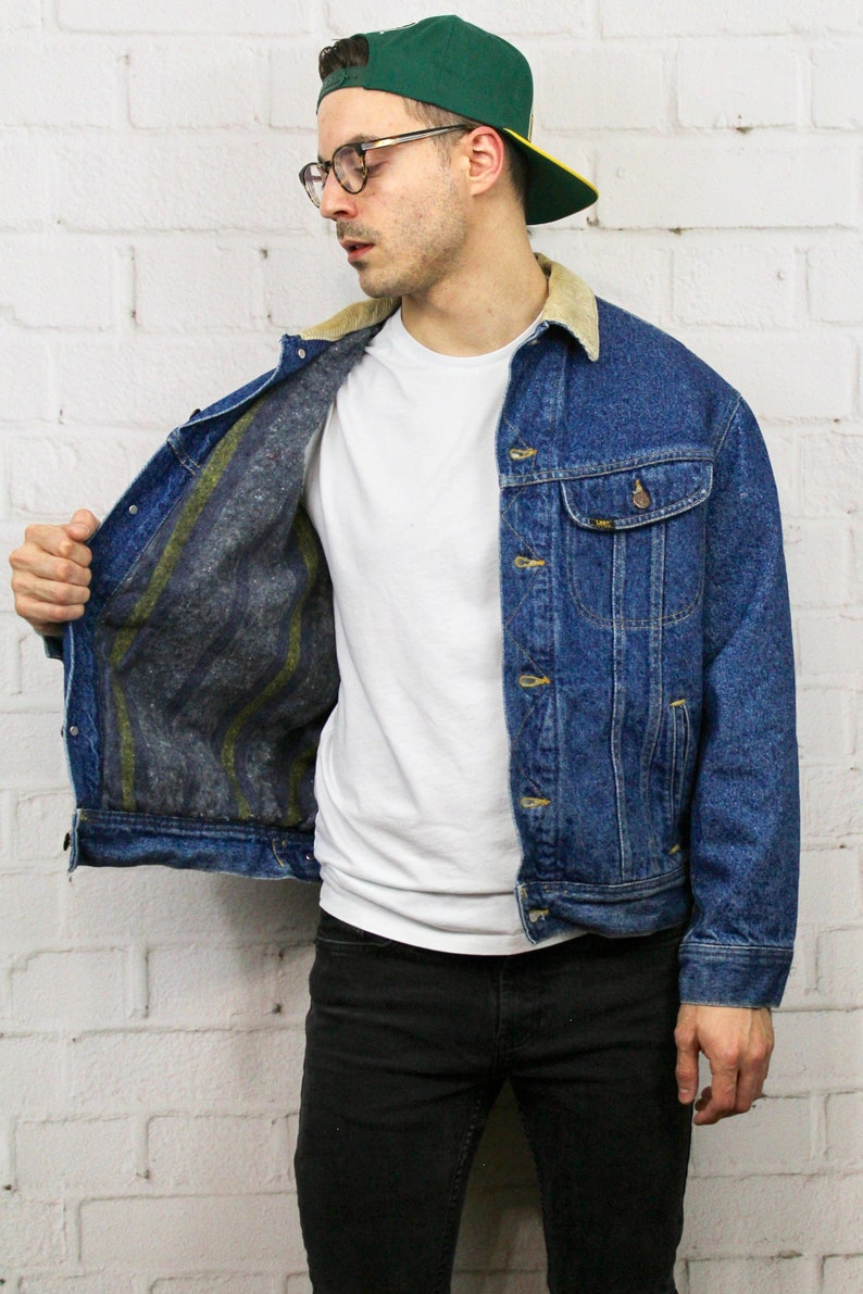 Vintage Blanket Lined Lee Denim Jacket Mens Womens 80s 90s Etsy