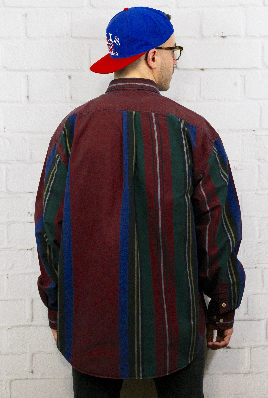 6383bcb7 ... Tommy Hilfiger Striped Shirt | Mens 90's Maroon Blue Green Vertical  Stripe Button Down Oxford Shirt | Retro Carlton Banks Style. gallery photo  gallery ...
