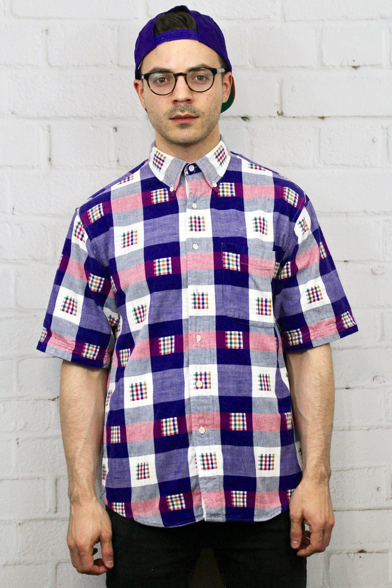d5b91e9a Vintage Colours by Alexander Julian Purple & Pink Plaid Button | Etsy