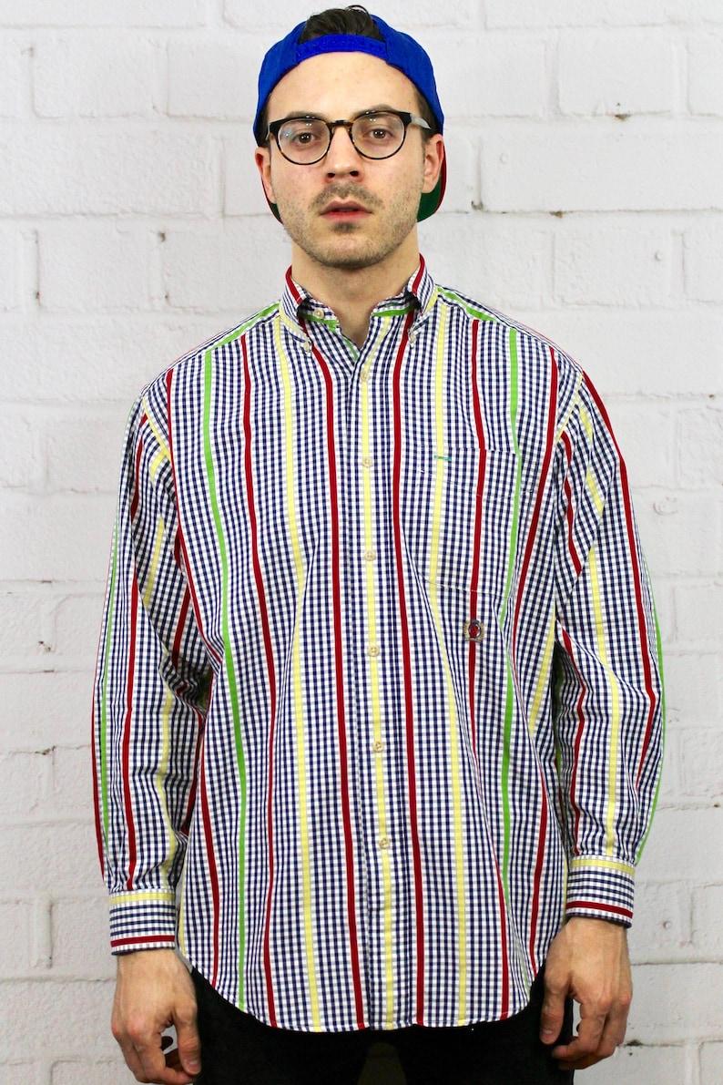 37c6b50fad 90s Tommy Hilfiger Vertical Stripe Plaid Shirt Mens Vintage | Etsy
