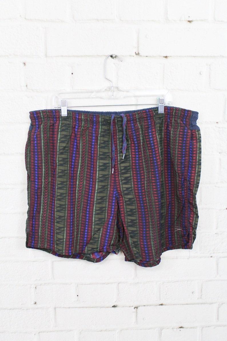 Mens Large 90s Speedo Swim Trunks Vintage Geometric Green Red Purple Aztec Pattern Swimsuit