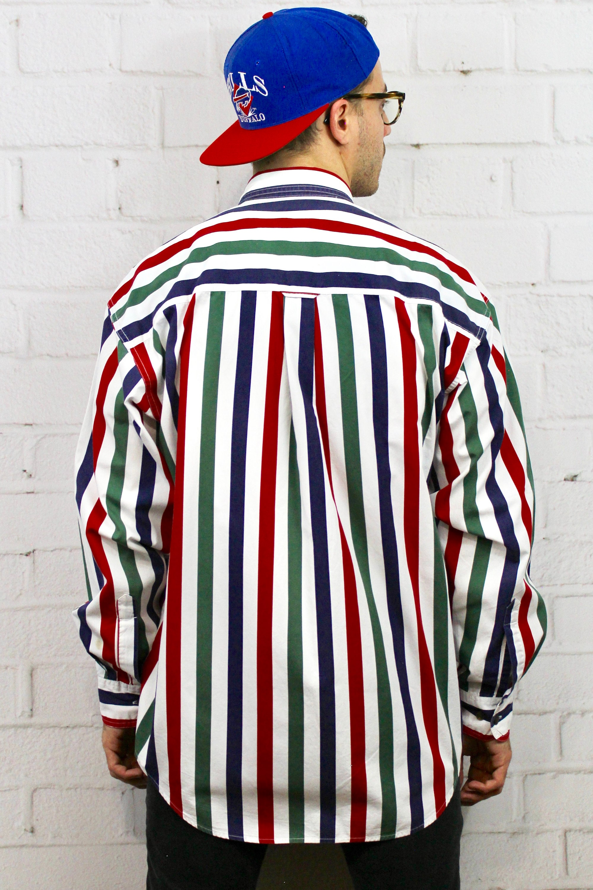 676e766460 ... Shirt / Mens Vintage 80s Polo Ralph Lauren Style Red Blue Green White  Striped Long Sleeve Button Down Fresh Prince. gallery photo gallery photo