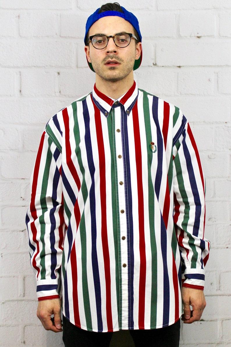 8b9e20a92 90s Chaps Vertical Stripe Shirt   Mens Vintage 80s Polo Ralph