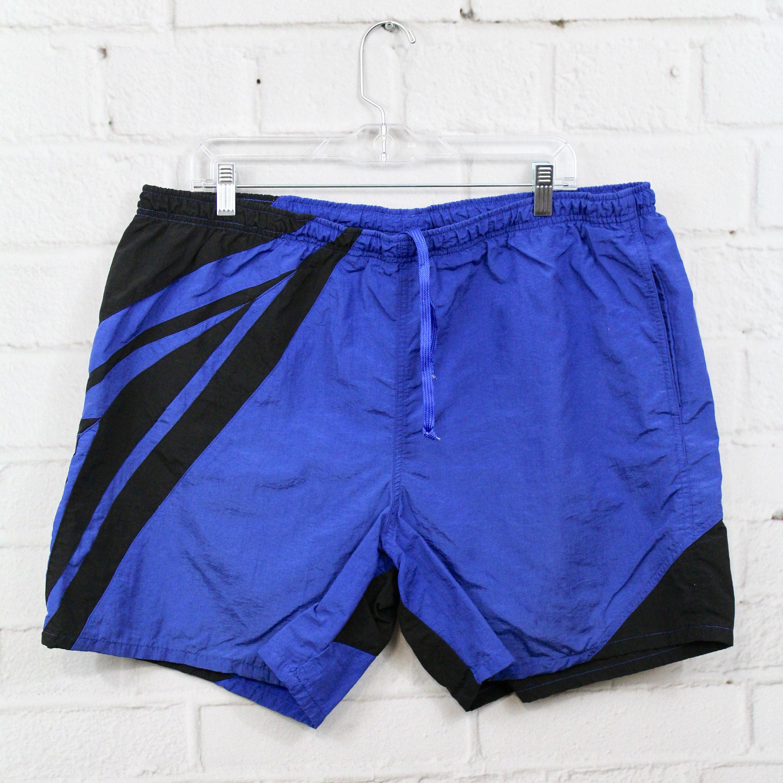 1a4a191a1c Mens Vintage Speedo Swimsuit | 90's Blue & Black Graphic Print Swim Trunks  | Retro Color Block Bathing Suit | Large