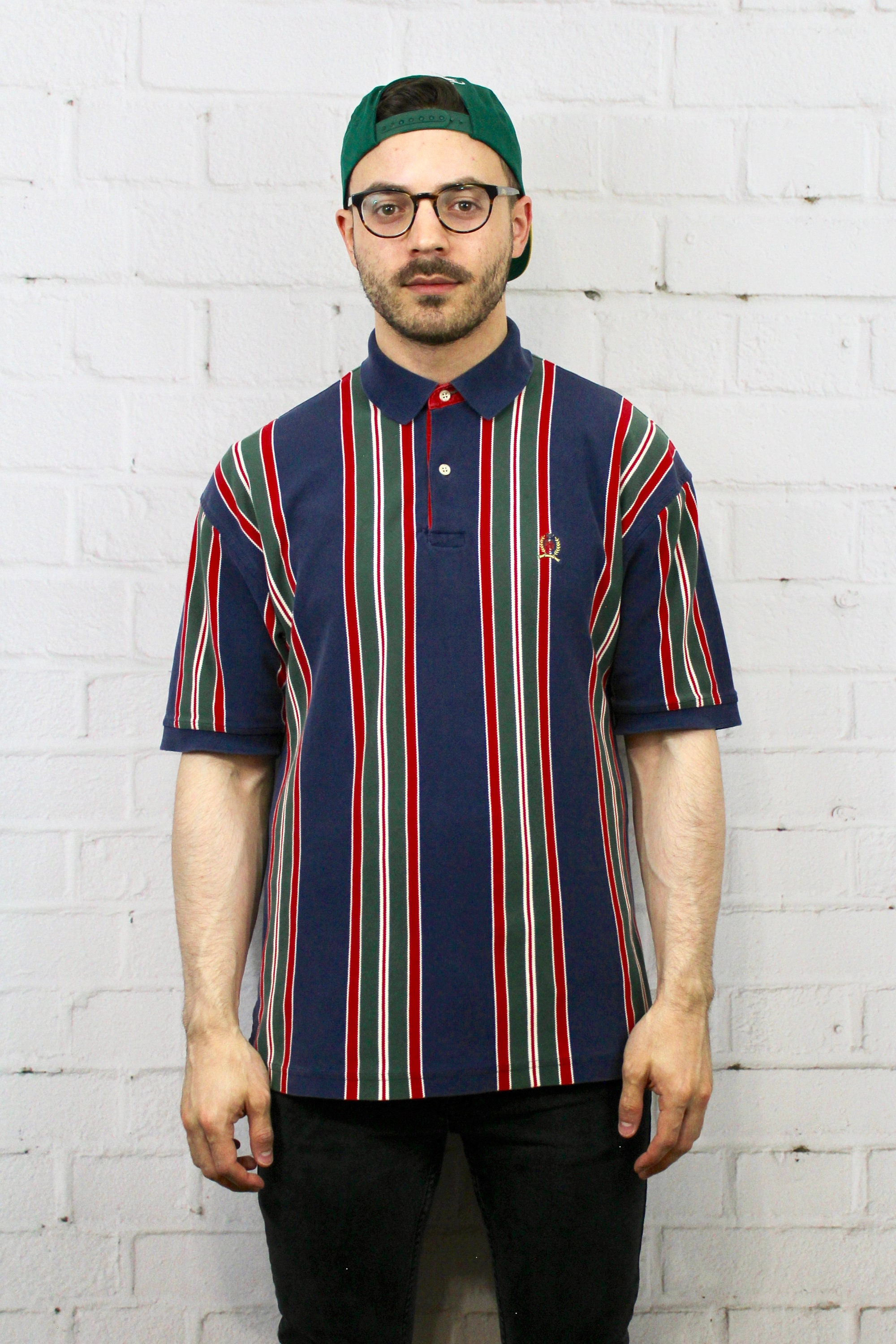 9f0b7117 90's Vintage Tommy Hilfiger Polo Shirt | Navy Blue Green Red Vertical  Stripe Color Block | Fresh Prince Style Shirt | Large