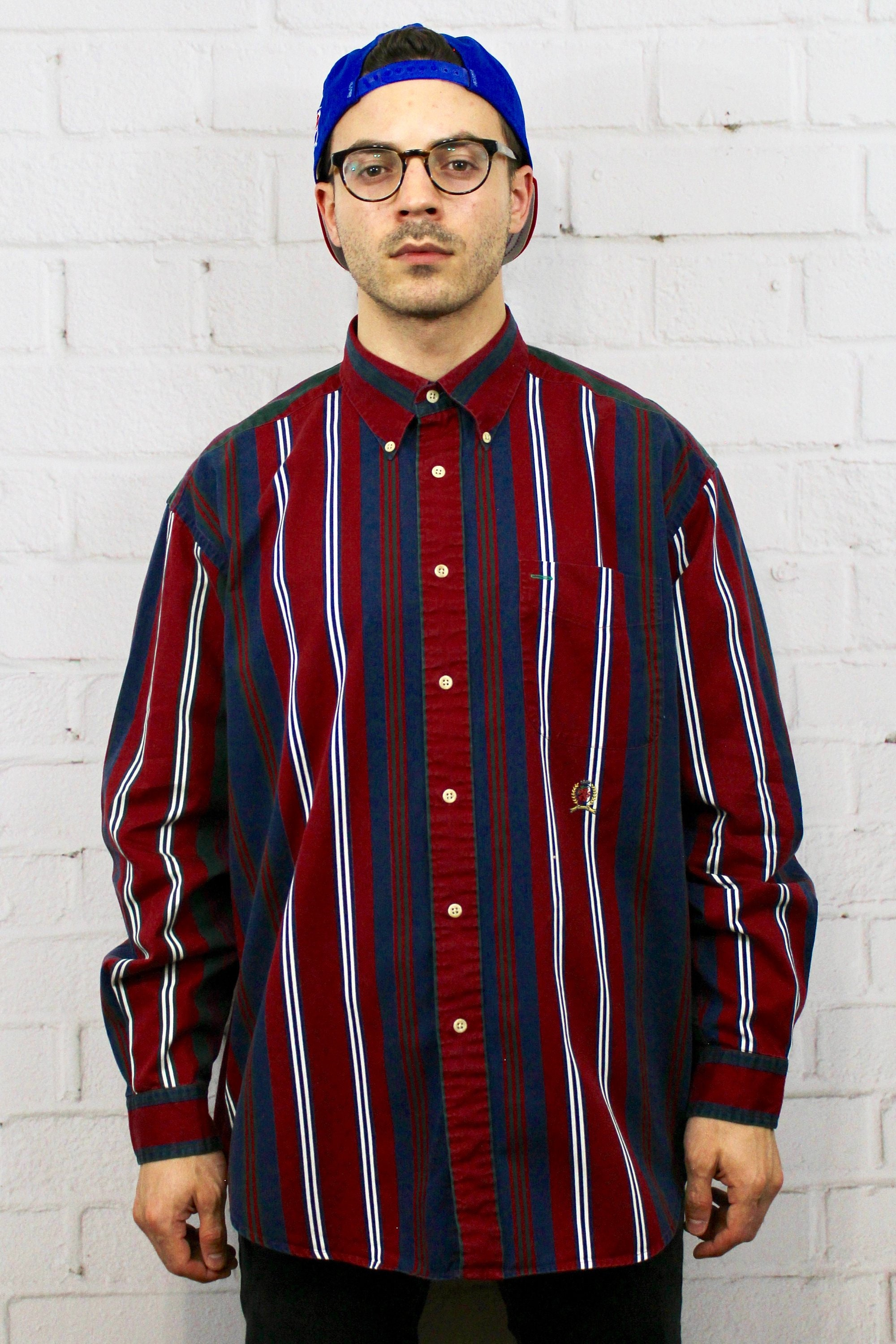 82fb2ab9a5 90s Tommy Hilfiger Vertical Stripe Shirt / Mens Vintage 80s Dad Polo Style  Red Blue Green Striped Long Sleeve Button Down / Fresh Prince