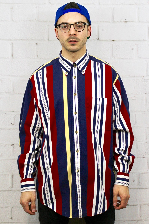 88ff6b271 90s Nauitca Vertical Stripe Shirt / Mens Vintage 80s Dad Polo | Etsy