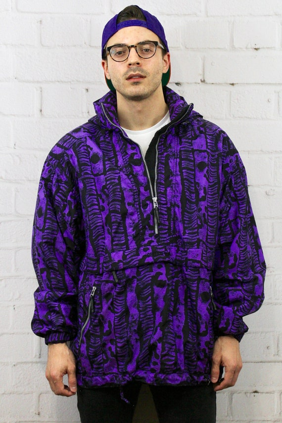 Vintage XL Obermeyer Purple Black Pullover Ski Jacket   Mens  90f3ff2cc