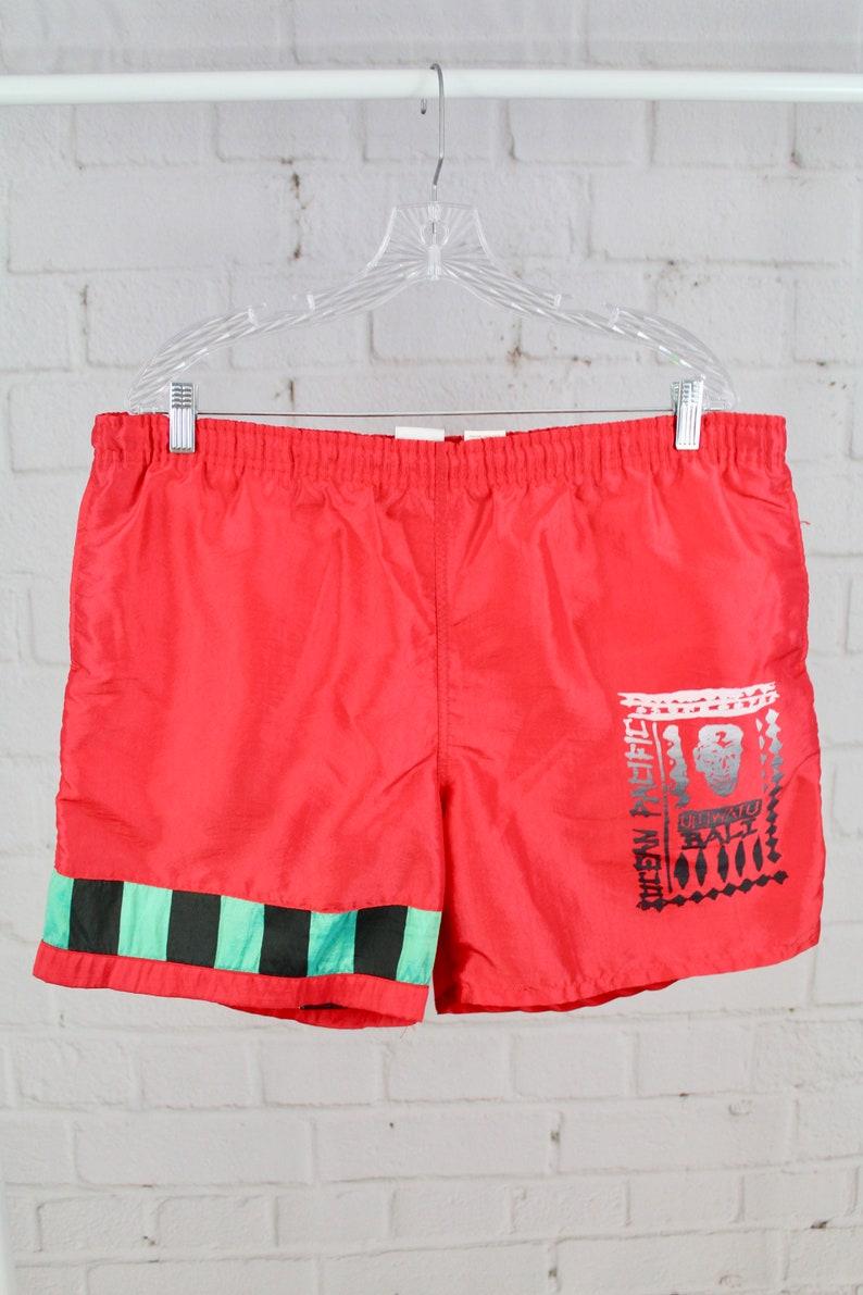 6b0742ff34 90's XL Ocean Pacific Red Orange Tribal Swim Trunks | Etsy