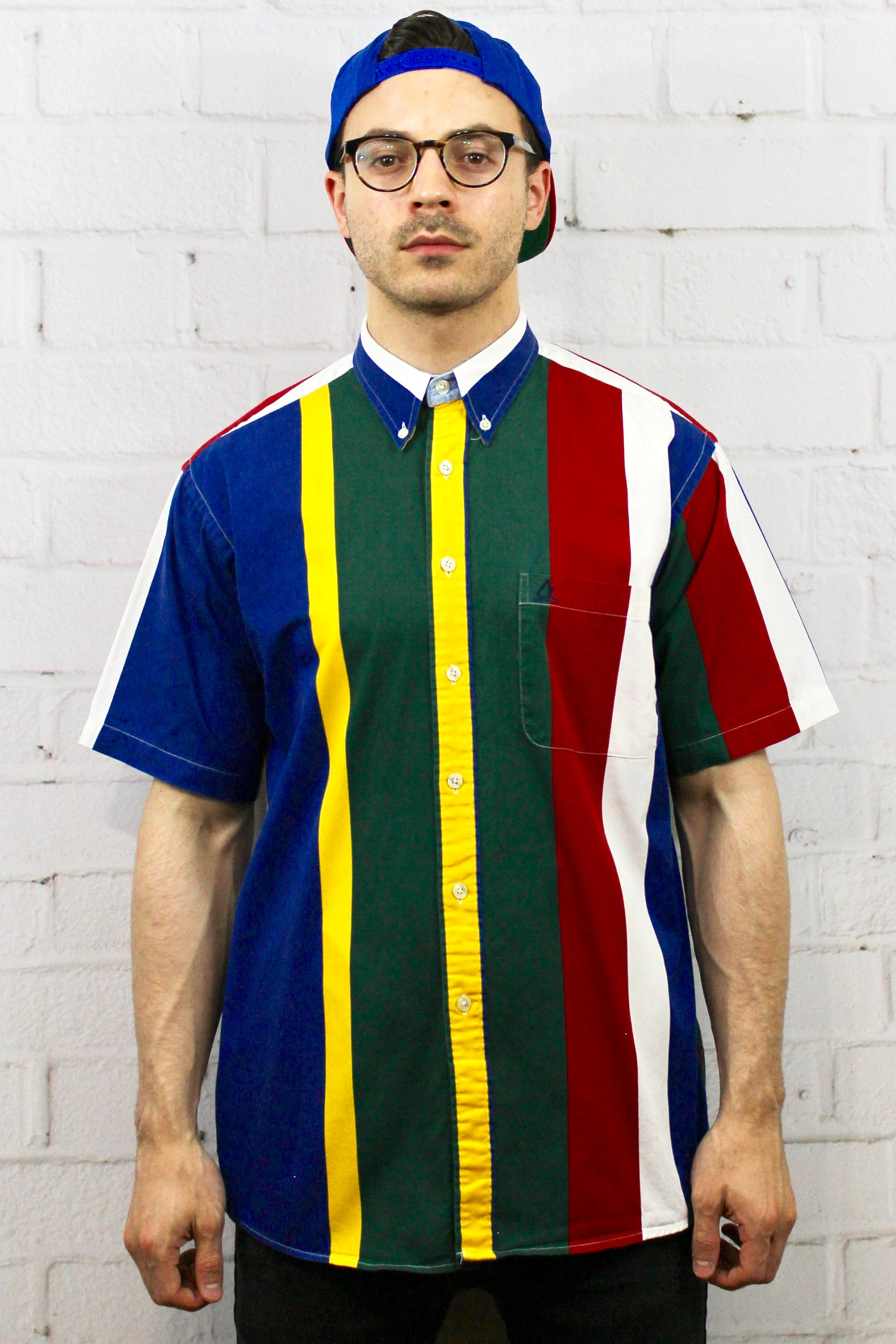 512f40950f 90s Color Block Primary Colors Shirt / Mens Vintage 80s Polo Ralph Lauren  Style Vertical Striped Short Sleeve Button Down / Fresh Prince