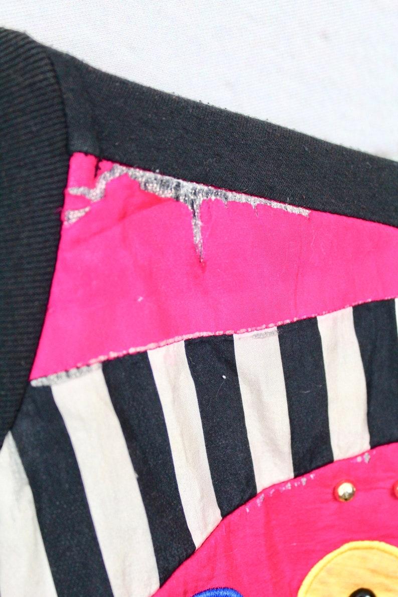 Women/'s Vintage Saint Germain Sports Cardigan  80s 90s Black /& Neon Geometric Beaded Button Up Sweater  Fresh Prince Kelly Kapowski Retro
