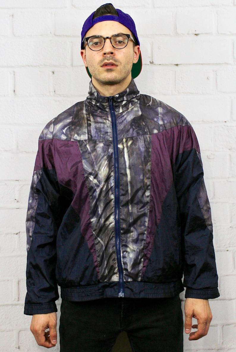 90s Geometric Pattern Windbreaker Mens Womens Vintage 80s Lavon Track Jacket Navy Blue Purple Abstract Fresh Prince Hip Hop Medium