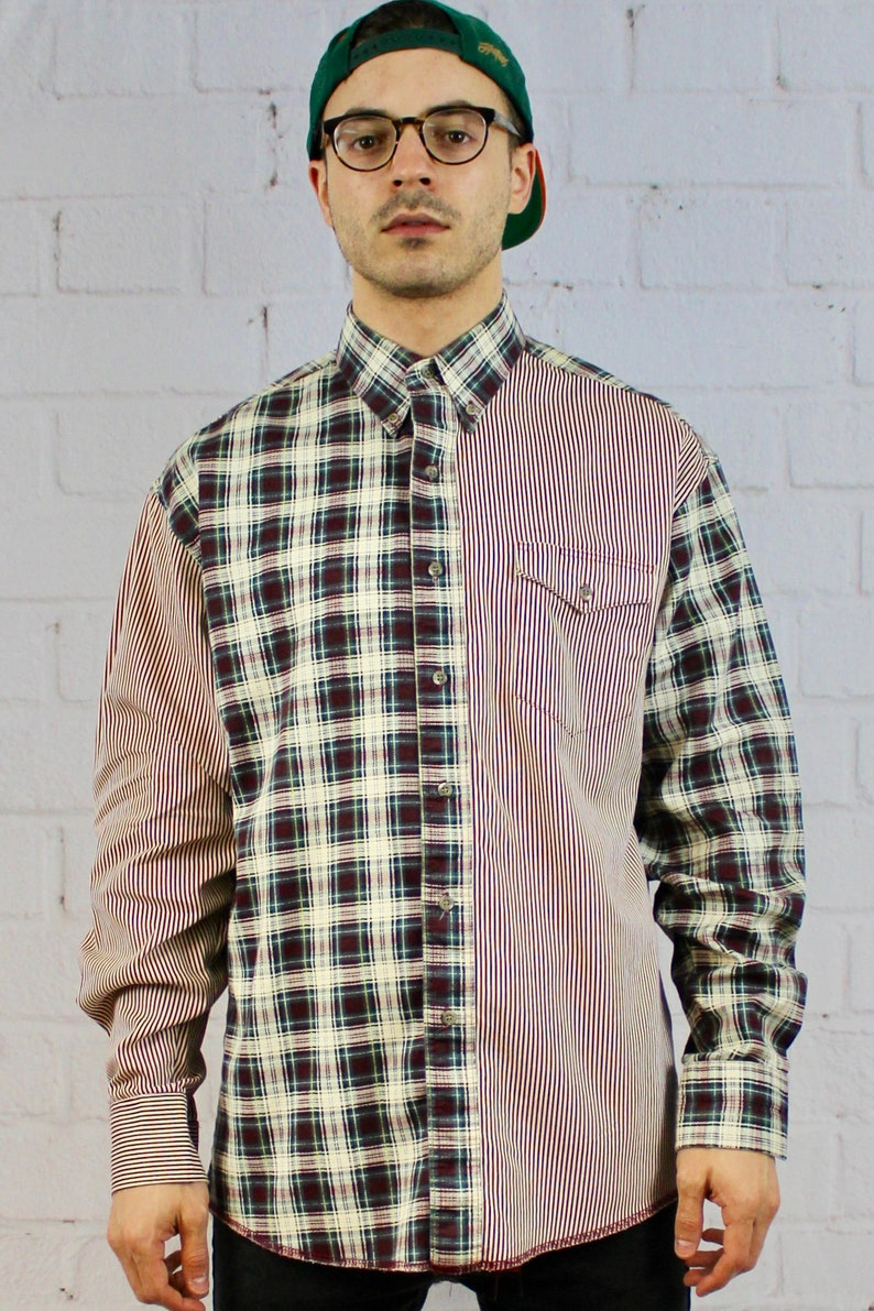 Mens Vintage 80s 90s Wrangler Plaid Vertical Stripe Color Block Fresh  Prince Long Sleeve Button Down Shirt