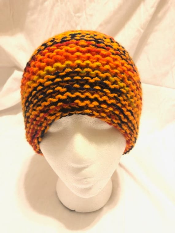 Hand-made Adultunisex. knit multi-colored beanie