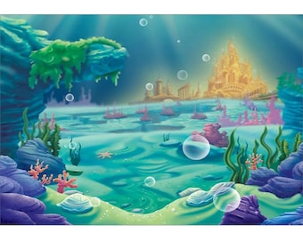 7x5ft Printed Under the sea Backdrop / Banner / Little mermaid / sea party /