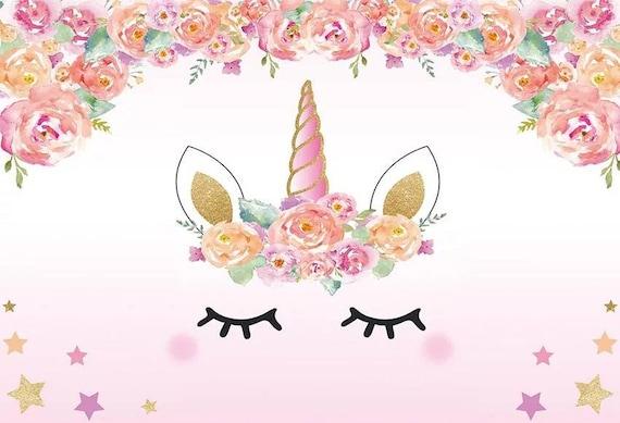 7x5ft Imprimé Joyeux Anniversaire Licorne Backdrop Bannière Magique Fête