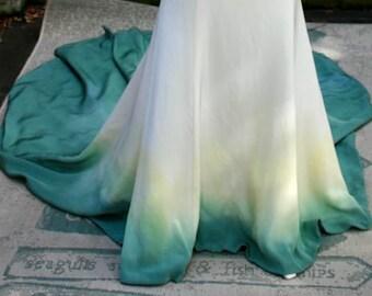 Alternative wedding dress/Dipdye wedding dress/Unique wedding dress/ Gothic wedding dress/ Vintage inspired dress/Green wedding dress